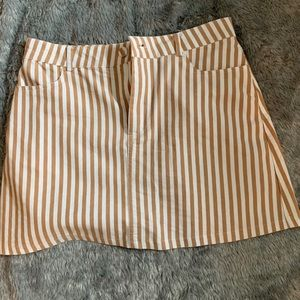 Forever 21 white and tan striped skirt